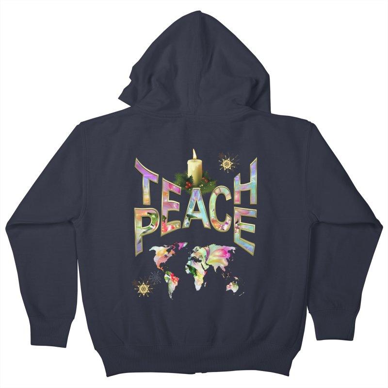 Teach Peace celebration Kids Zip-Up Hoody by NadineMay Artist Shop