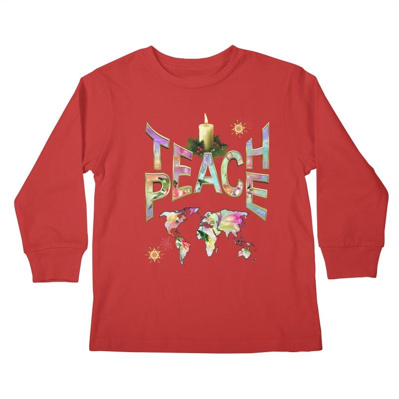 Teach Peace celebration Kids Longsleeve T-Shirt by NadineMay Artist Shop