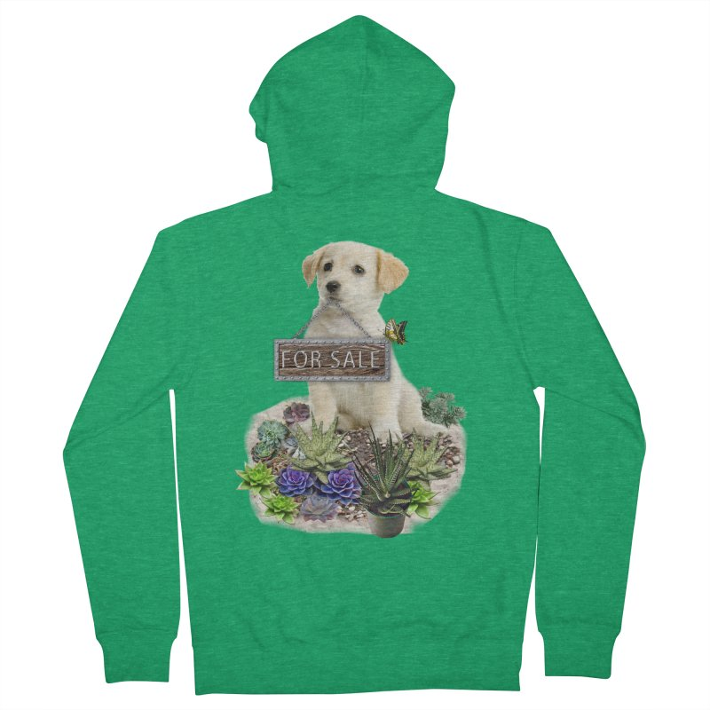 Labrador-Retriever puppy is for sale Women's French Terry Zip-Up Hoody by NadineMay Artist Shop