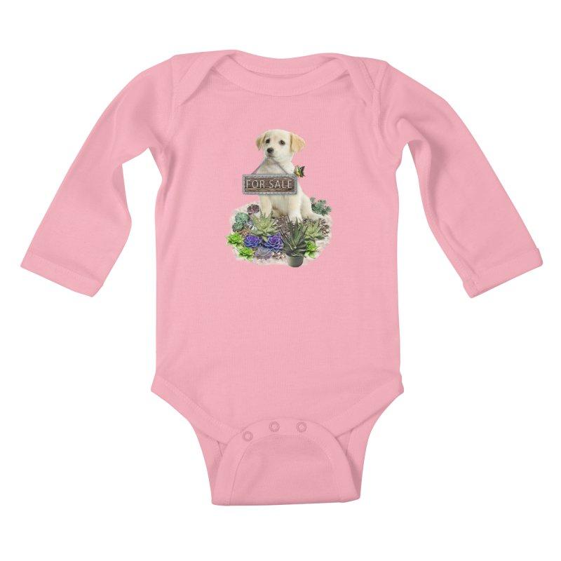 Labrador-Retriever puppy is for sale Kids Baby Longsleeve Bodysuit by NadineMay Artist Shop
