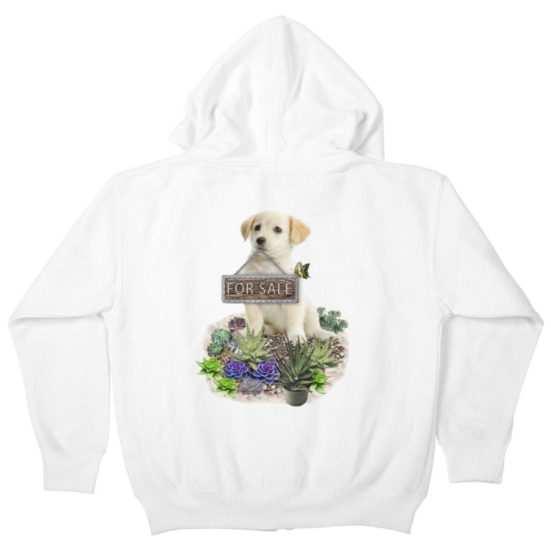 Labrador-Retriever puppy is for sale Kids Zip-Up Hoody by NadineMay Artist Shop