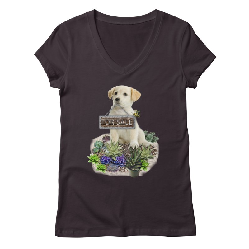 Labrador-Retriever puppy is for sale Women's Regular V-Neck by NadineMay Artist Shop