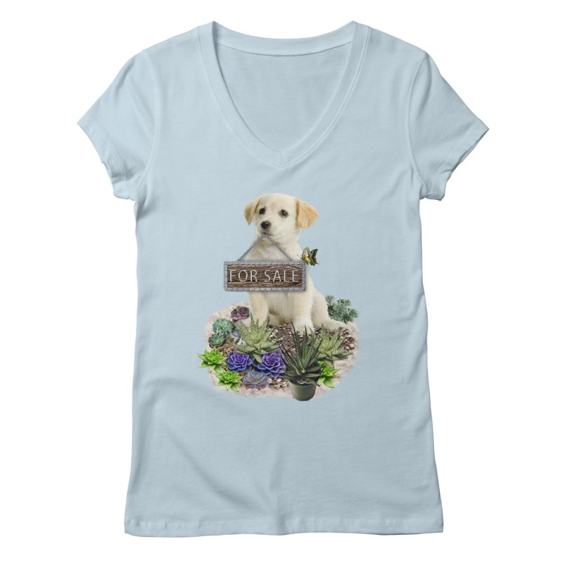 Labrador-Retriever puppy is for sale Women's Regular V-Neck by NadineMay Artist Shop