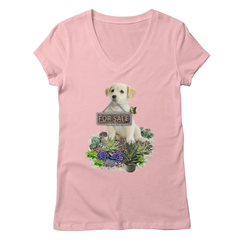 Labrador-Retriever puppy is for sale Women's V-Neck by NadineMay Artist Shop