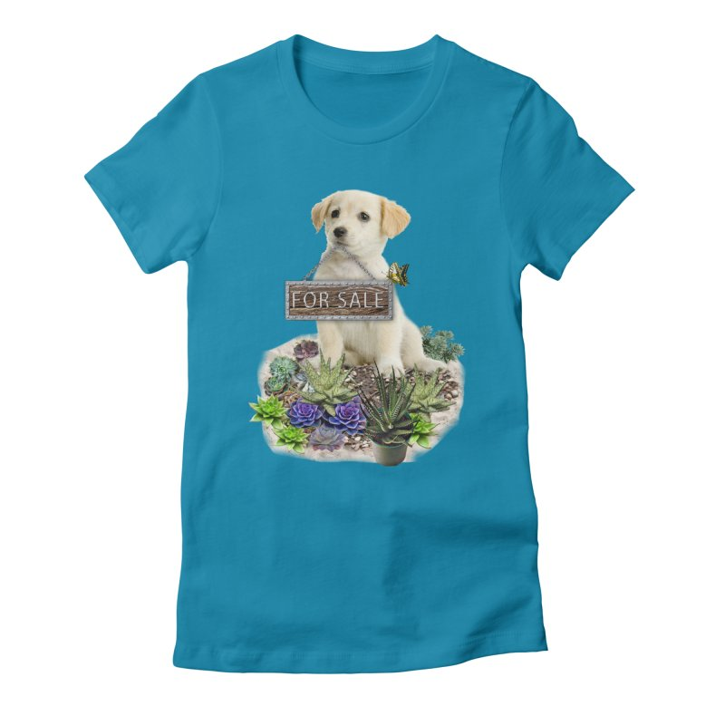 Labrador-Retriever puppy is for sale Women's Fitted T-Shirt by NadineMay Artist Shop