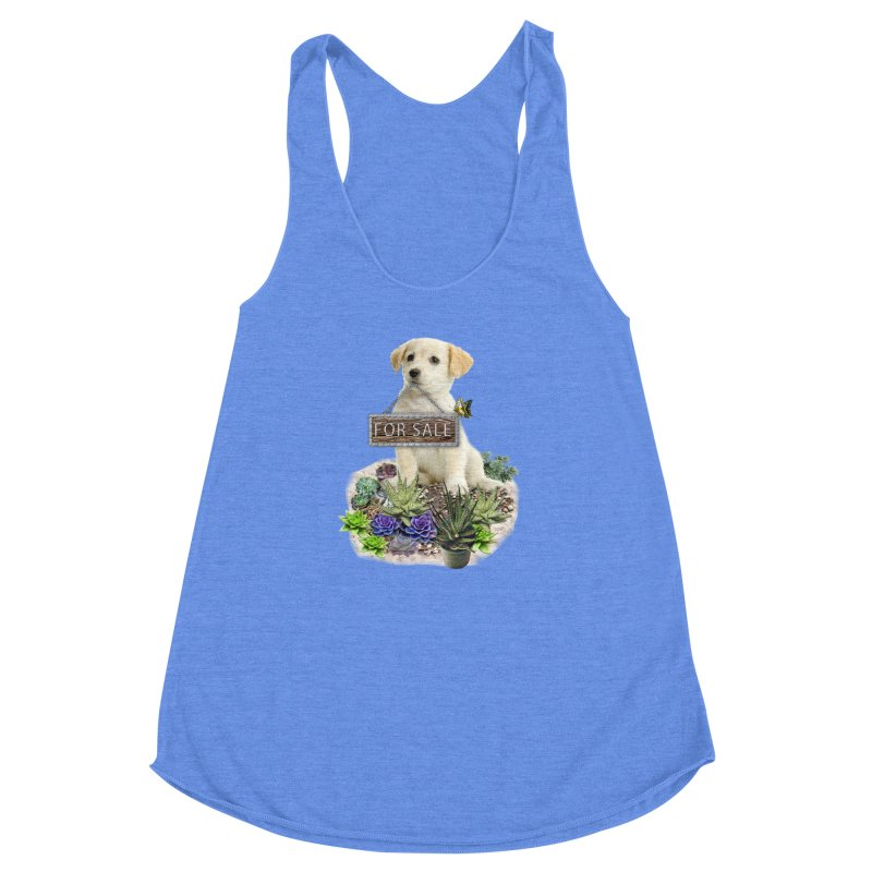 Labrador-Retriever puppy is for sale Women's Racerback Triblend Tank by NadineMay Artist Shop
