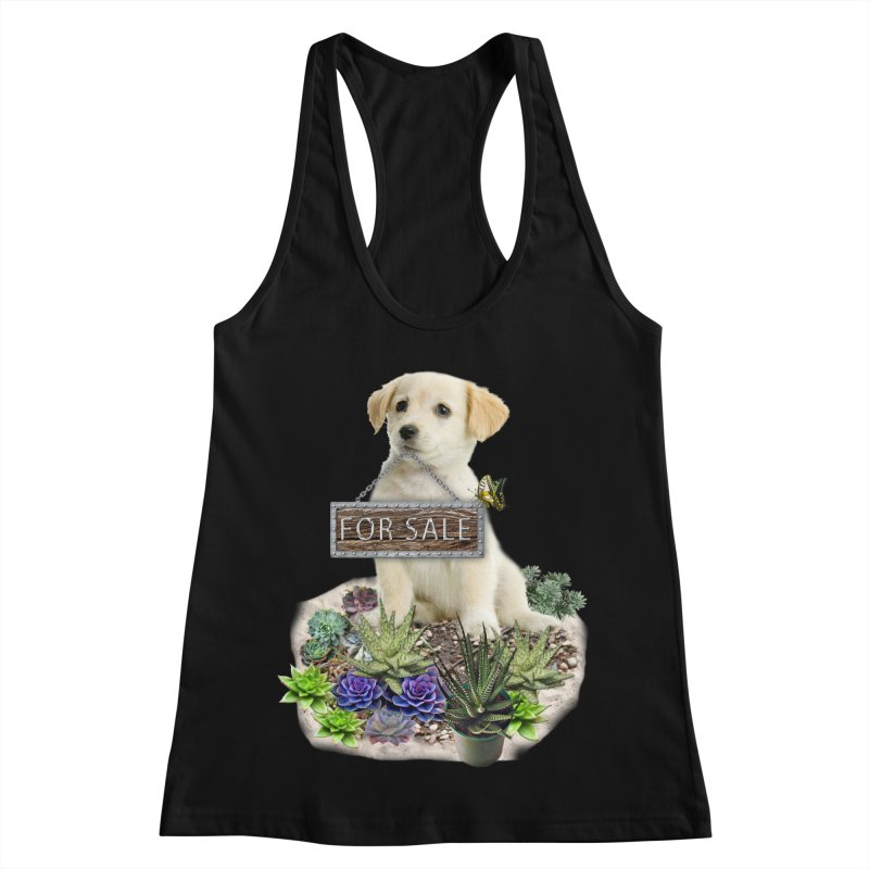 Labrador-Retriever puppy is for sale Women's Racerback Tank by NadineMay Artist Shop