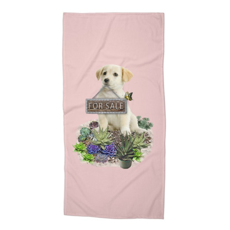 Labrador-Retriever puppy is for sale Accessories Beach Towel by NadineMay Artist Shop