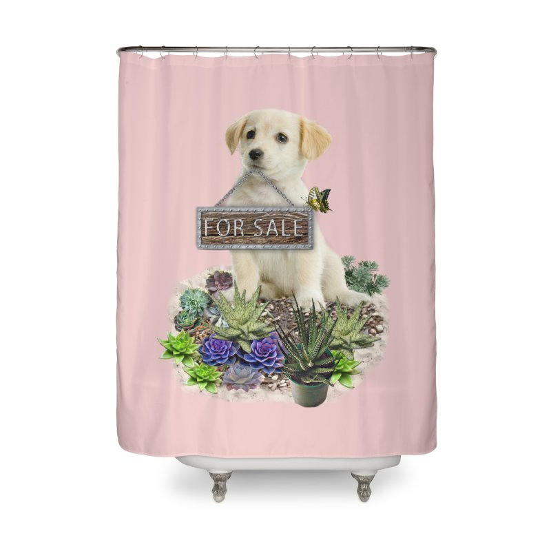 Labrador-Retriever puppy is for sale Home Shower Curtain by NadineMay Artist Shop