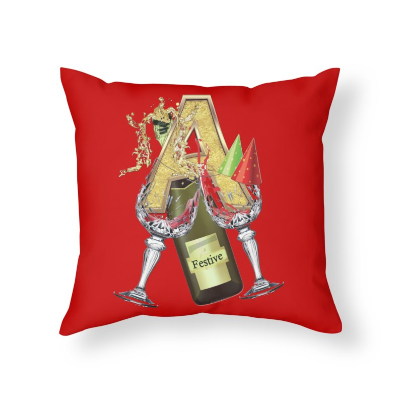 Festive-party letter A Home Throw Pillow by NadineMay Artist Shop