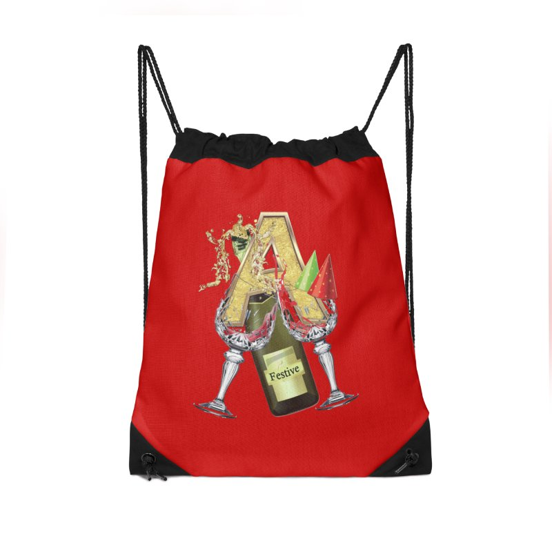 Festive-party letter A Accessories Drawstring Bag Bag by NadineMay Artist Shop
