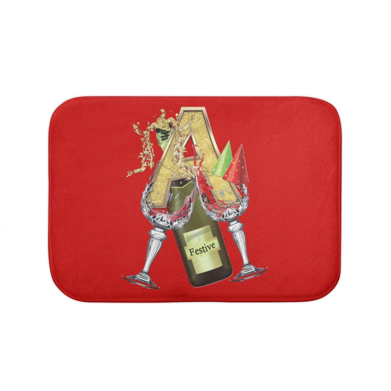 Festive-party letter A Home Bath Mat by NadineMay Artist Shop