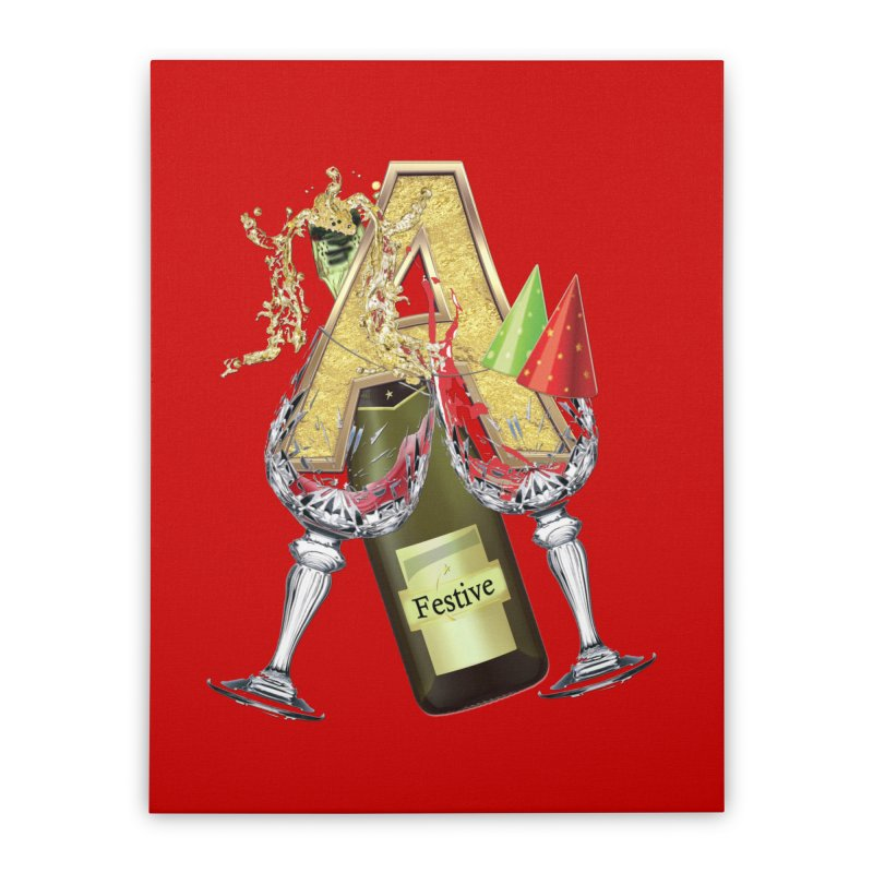 Festive-party letter A Home Stretched Canvas by NadineMay Artist Shop