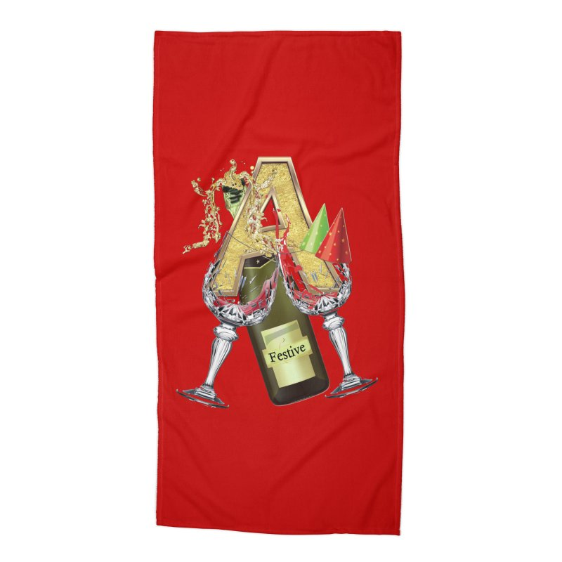 Festive-party letter A Accessories Beach Towel by NadineMay Artist Shop