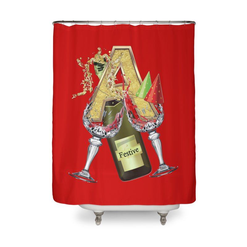 Festive-party letter A Home Shower Curtain by NadineMay Artist Shop