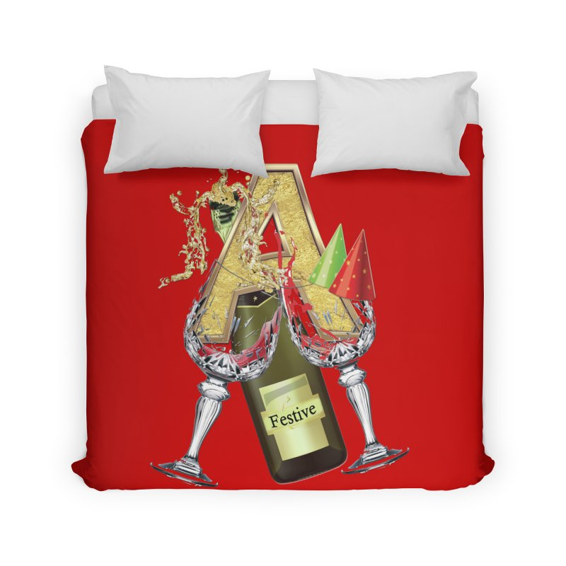 Festive-party letter A Home Duvet by NadineMay Artist Shop