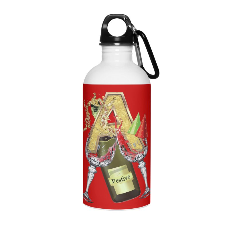 Festive-party letter A Accessories Water Bottle by NadineMay Artist Shop