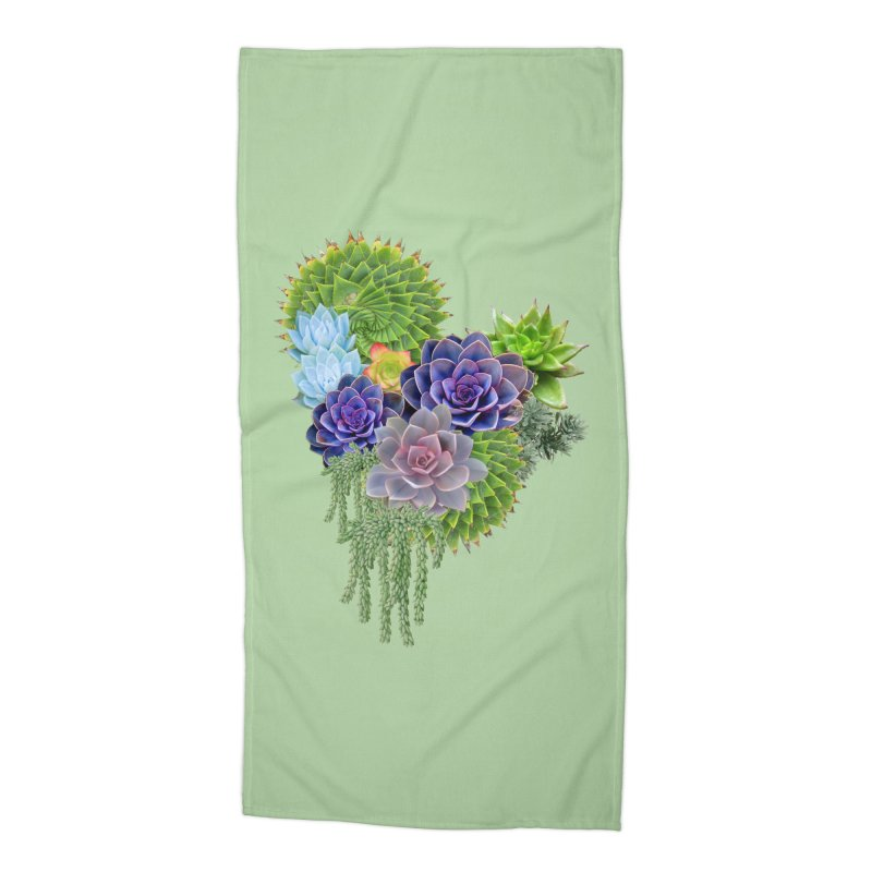 Succulent Story Accessories Beach Towel by NadineMay Artist Shop