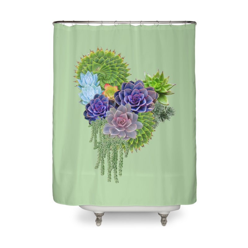 Succulent Story Home Shower Curtain by NadineMay Artist Shop