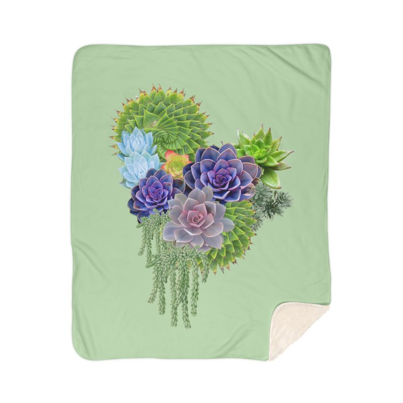 Succulent Story Home Sherpa Blanket Blanket by NadineMay Artist Shop