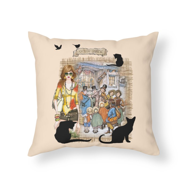 Carol singers in old Amsterdam Home Throw Pillow by NadineMay Artist Shop
