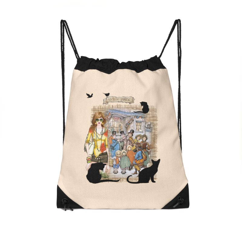 Carol singers in old Amsterdam Accessories Drawstring Bag Bag by NadineMay Artist Shop