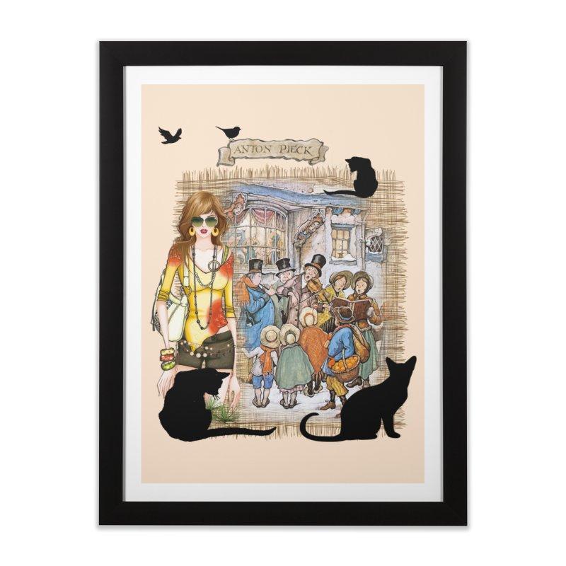 Carol singers in old Amsterdam Home Framed Fine Art Print by NadineMay Artist Shop