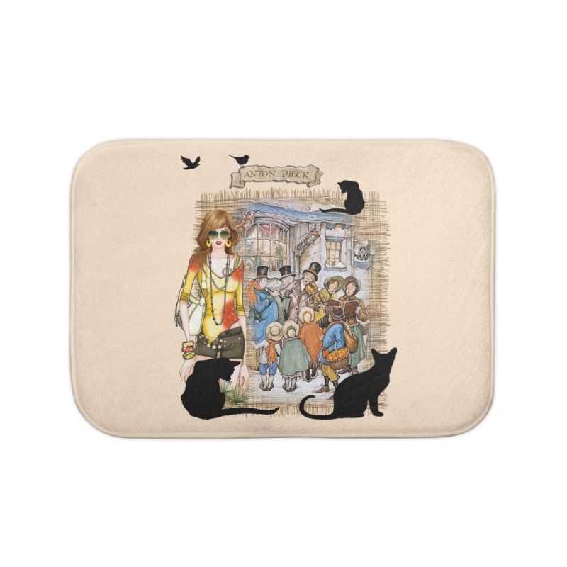 Carol singers in old Amsterdam Home Bath Mat by NadineMay Artist Shop