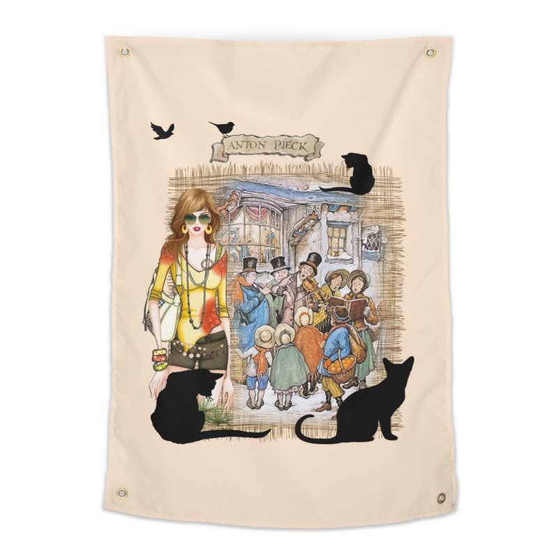 Carol singers in old Amsterdam Home Tapestry by NadineMay Artist Shop