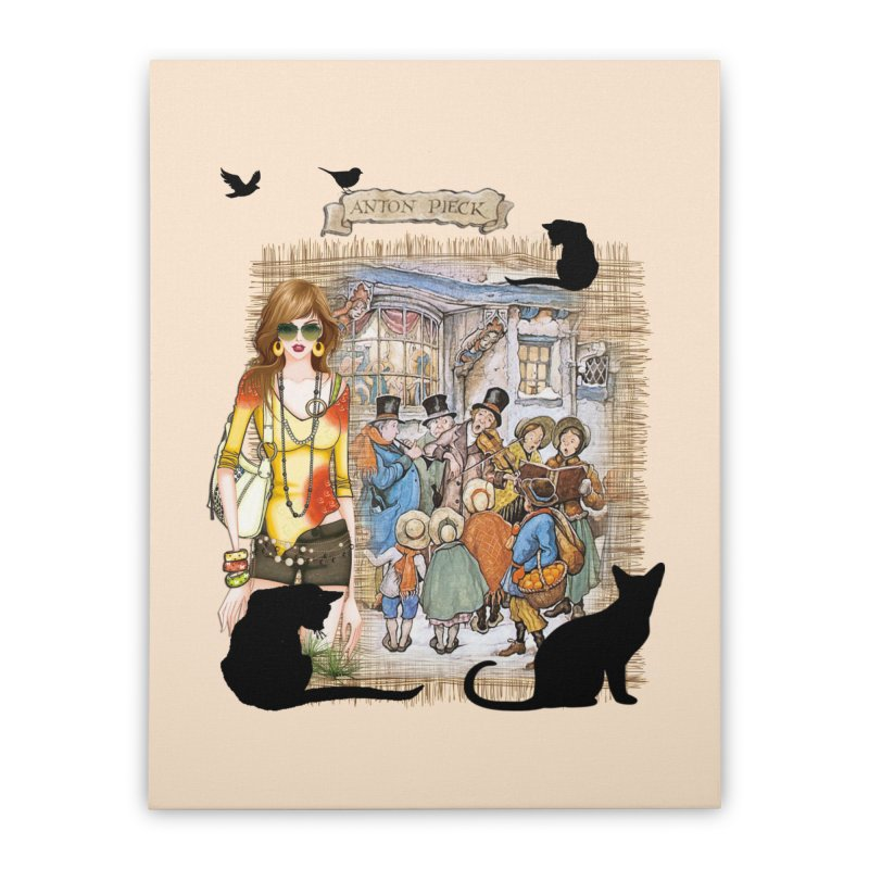 Carol singers in old Amsterdam Home Stretched Canvas by NadineMay Artist Shop