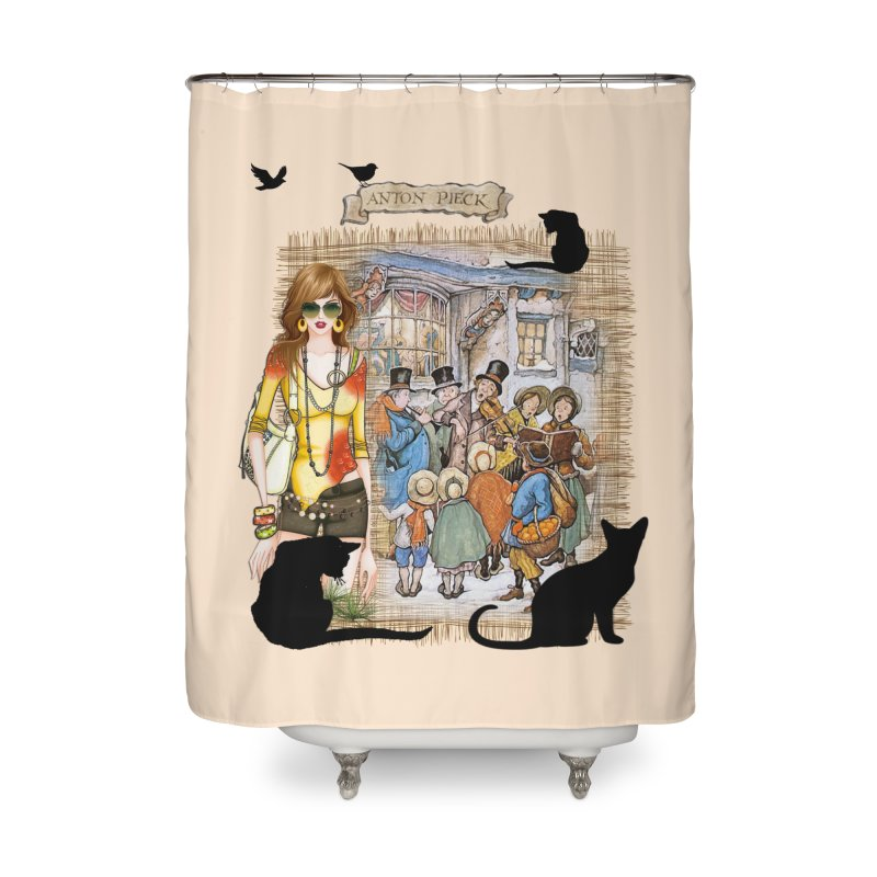 Carol singers in old Amsterdam Home Shower Curtain by NadineMay Artist Shop