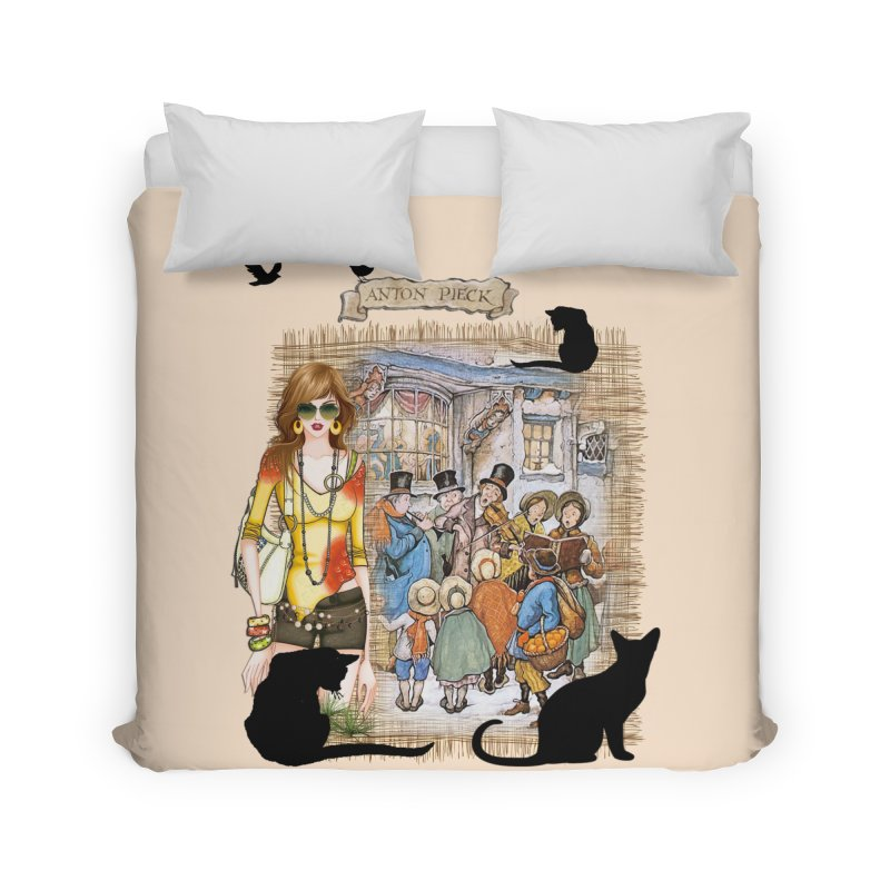 Carol singers in old Amsterdam Home Duvet by NadineMay Artist Shop