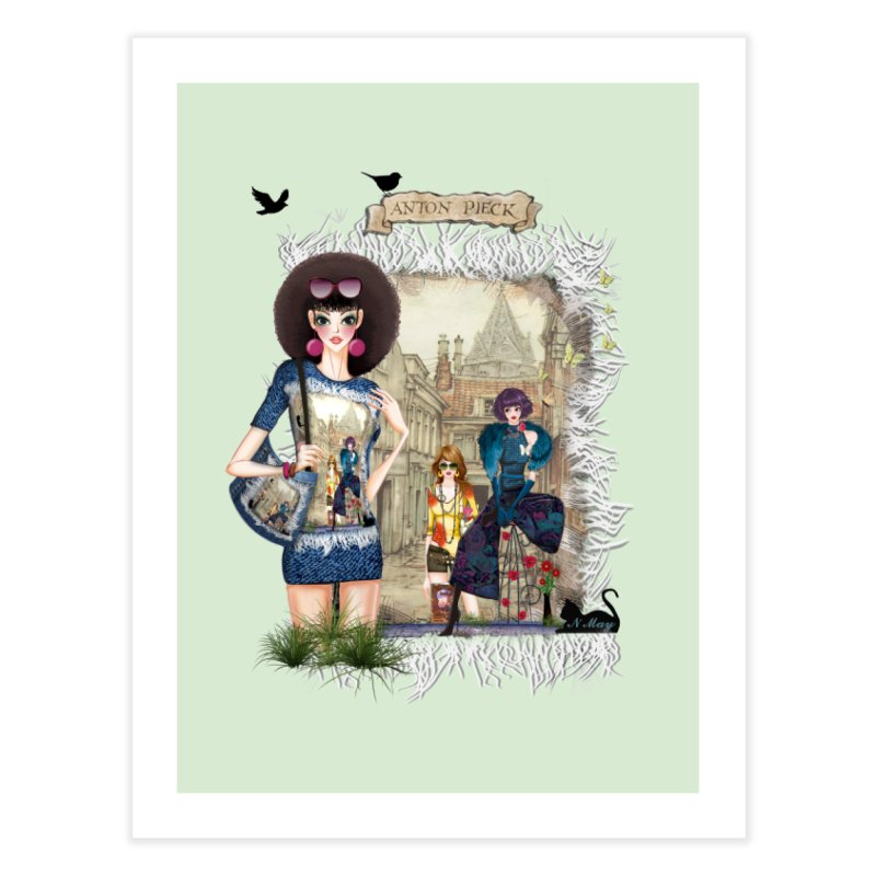 Fashion girls,Black cats and a Dutch painting Home Fine Art Print by NadineMay Artist Shop