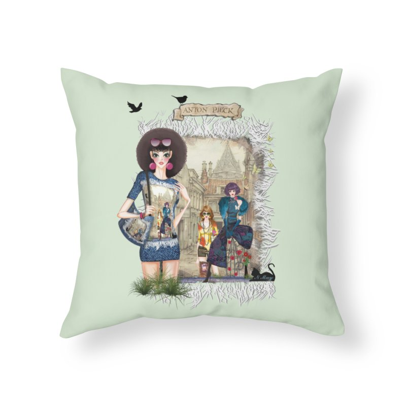 Fashion girls,Black cats and a Dutch painting Home Throw Pillow by NadineMay Artist Shop
