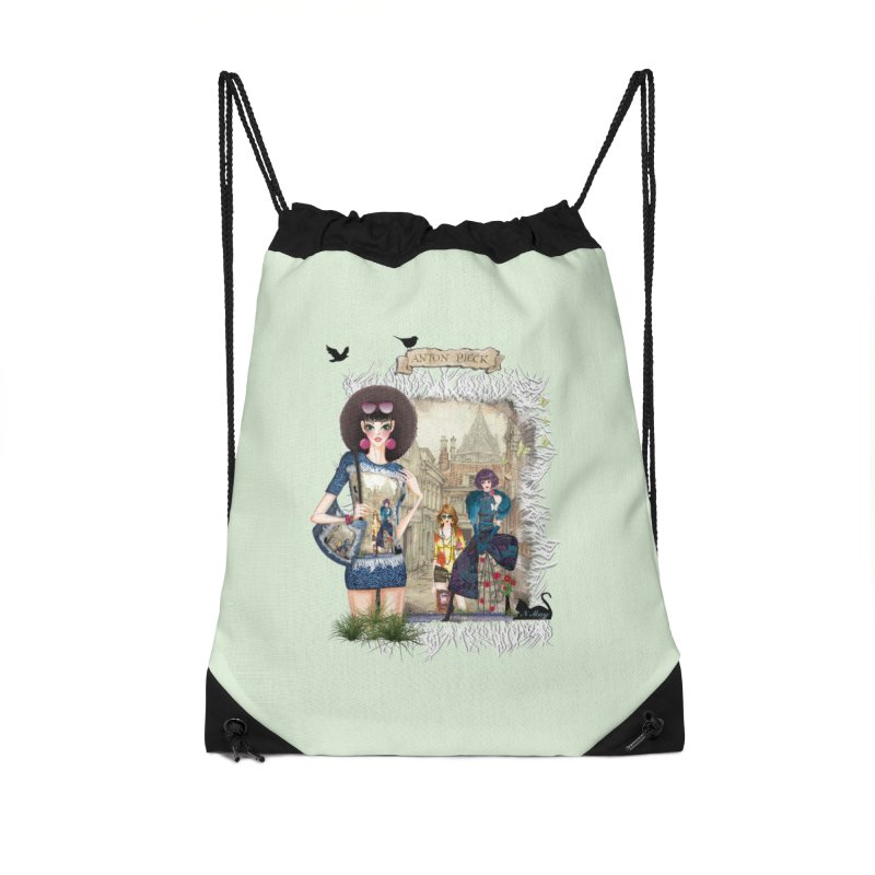Fashion girls,Black cats and a Dutch painting Accessories Drawstring Bag Bag by NadineMay Artist Shop