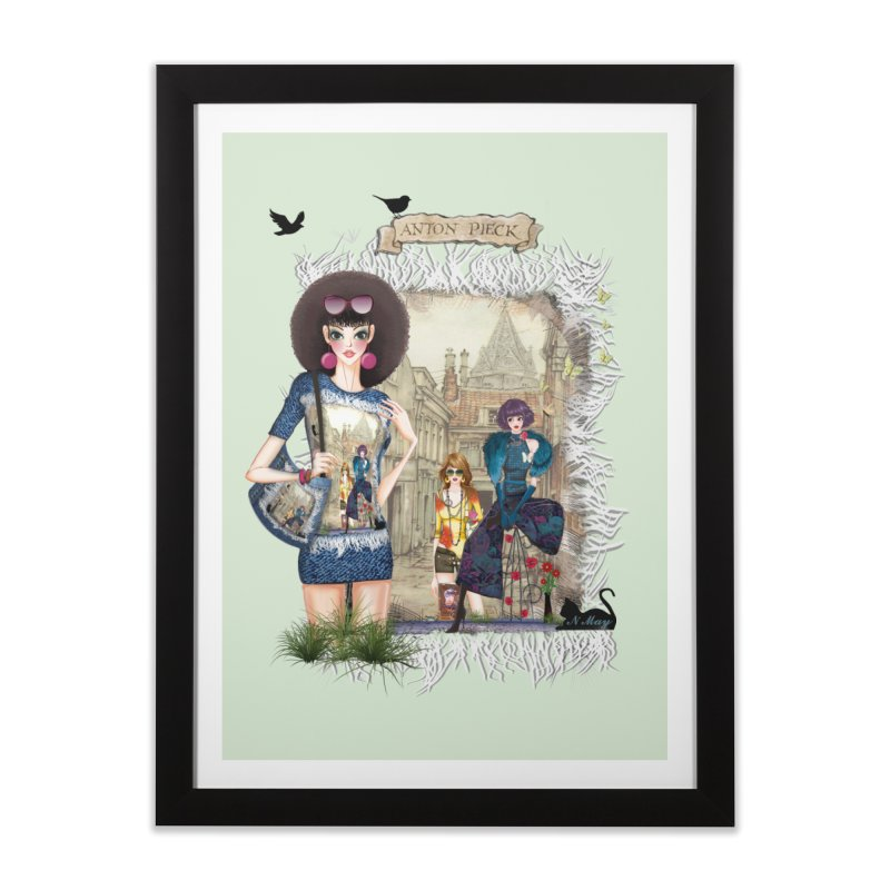 Fashion girls,Black cats and a Dutch painting Home Framed Fine Art Print by NadineMay Artist Shop