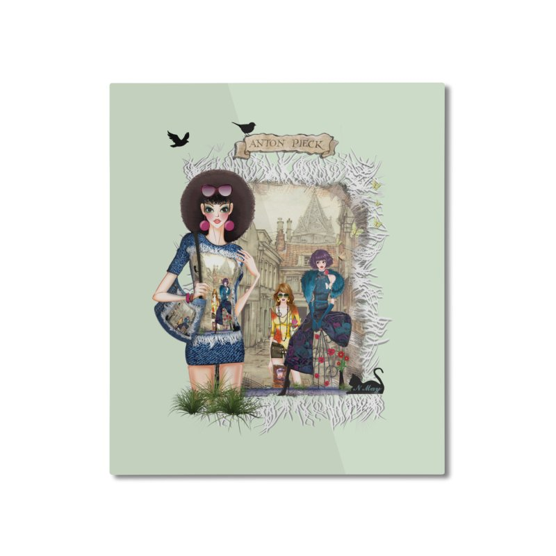 Fashion girls,Black cats and a Dutch painting Home Mounted Aluminum Print by NadineMay Artist Shop