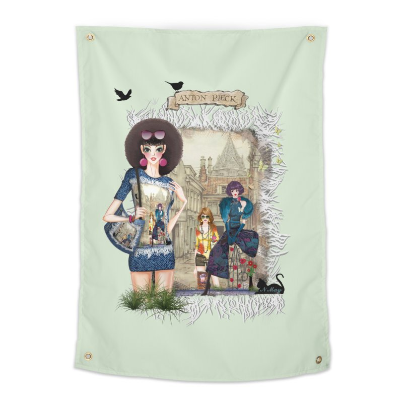 Fashion girls,Black cats and a Dutch painting Home Tapestry by NadineMay Artist Shop