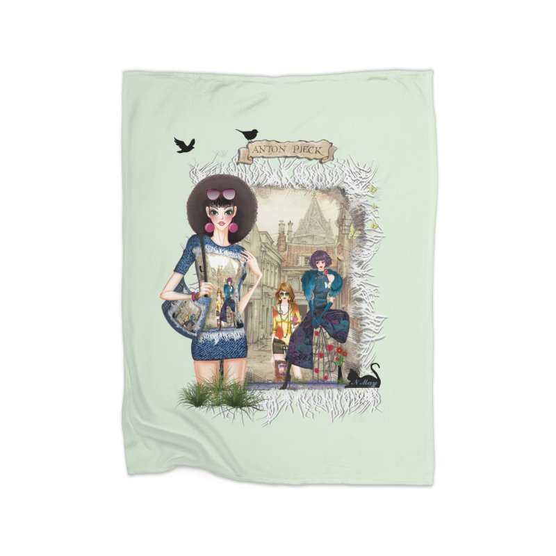 Fashion girls,Black cats and a Dutch painting Home Blanket by NadineMay Artist Shop