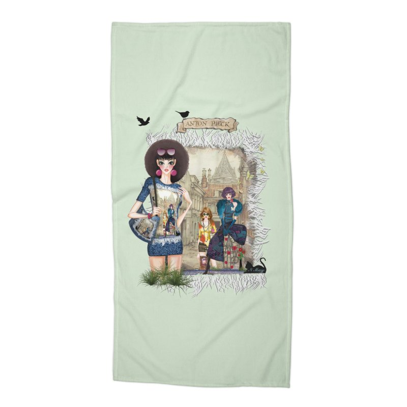 Fashion girls,Black cats and a Dutch painting Accessories Beach Towel by NadineMay Artist Shop