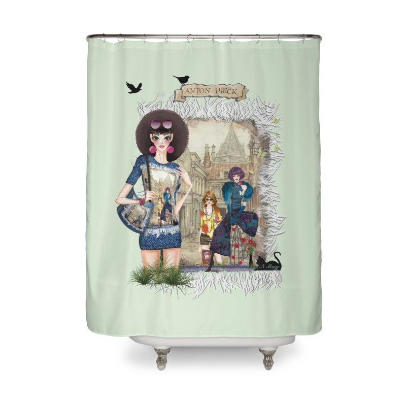 Fashion girls,Black cats and a Dutch painting Home Shower Curtain by NadineMay Artist Shop