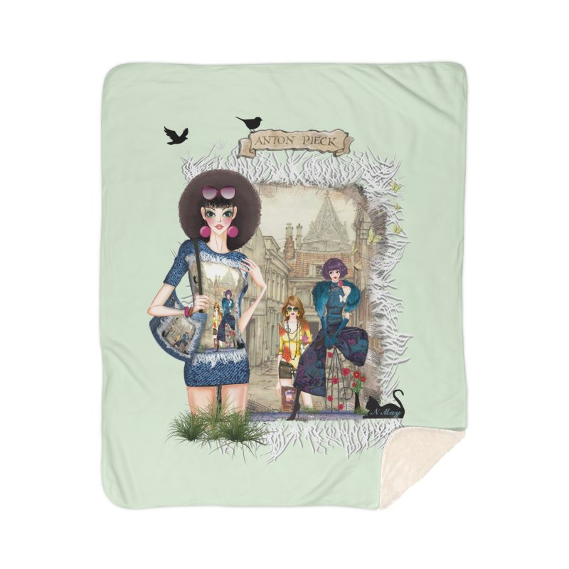 Fashion girls,Black cats and a Dutch painting Home Sherpa Blanket Blanket by NadineMay Artist Shop