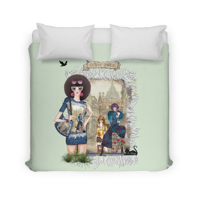 Fashion girls,Black cats and a Dutch painting Home Duvet by NadineMay Artist Shop