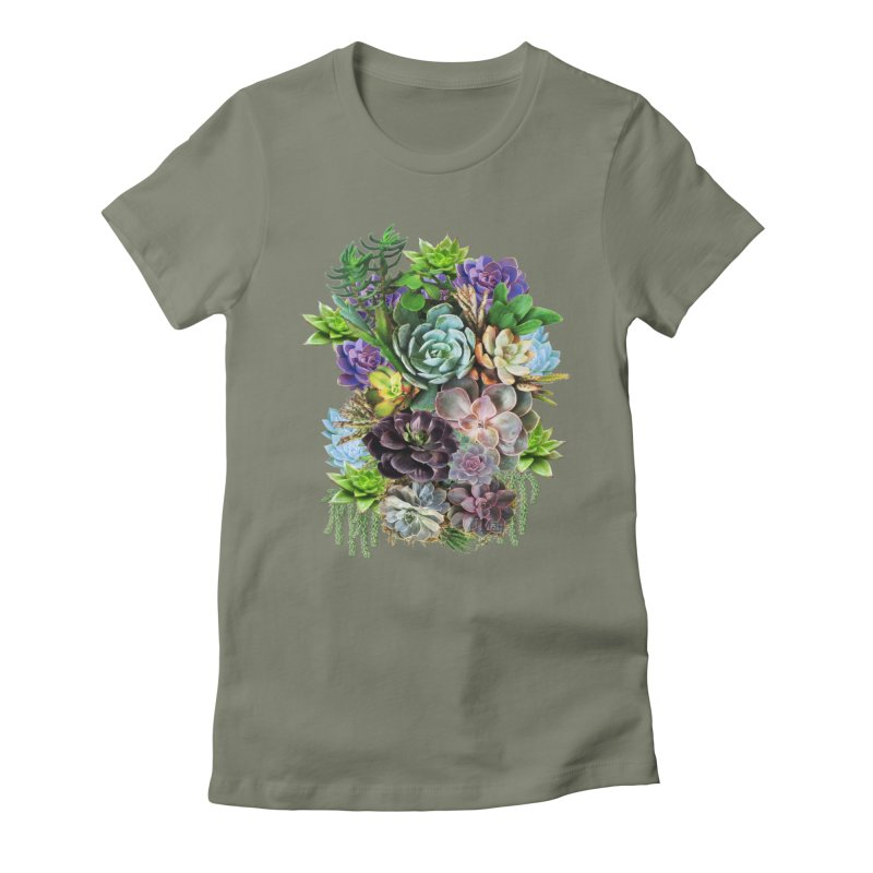 Succulent arraingement in Women's Fitted T-Shirt Light Olive by NadineMay Artist Shop