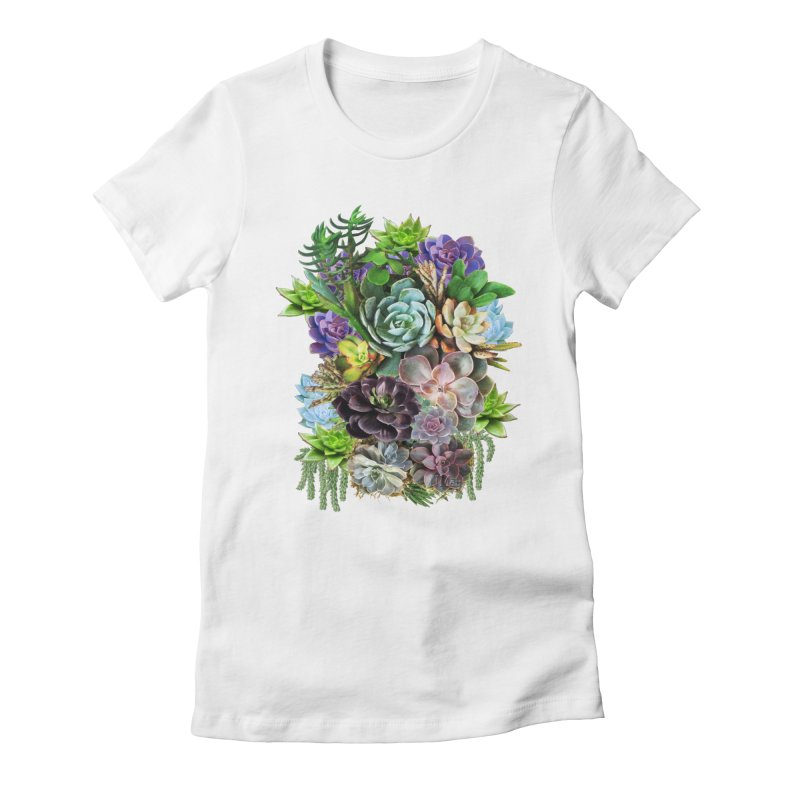 Succulent arraingement Women's Fitted T-Shirt by NadineMay Artist Shop