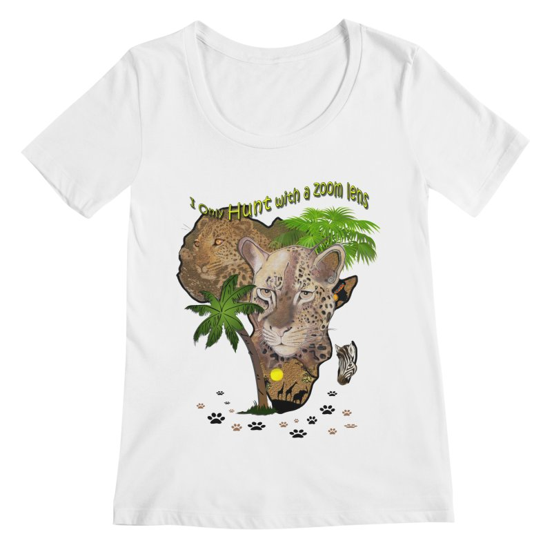 Only hunt with a zoom lens Women's Regular Scoop Neck by NadineMay Artist Shop