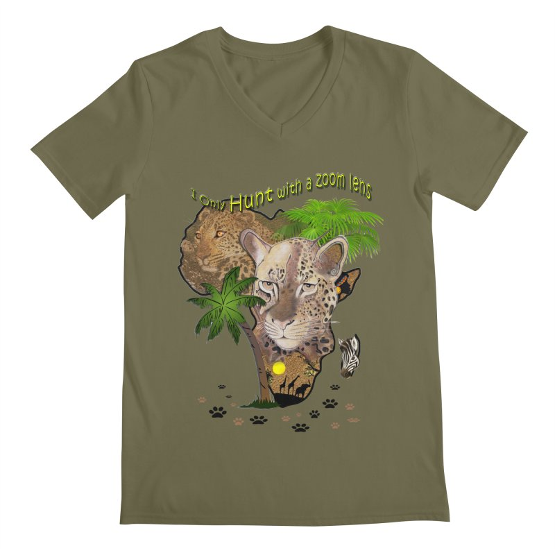 Only hunt with a zoom lens Men's Regular V-Neck by NadineMay Artist Shop
