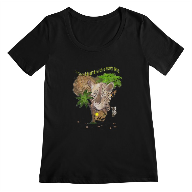 Only hunt with a zoom lens Women's Scoopneck by justkidding's Artist Shop