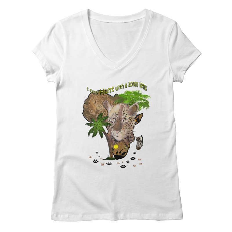 Only hunt with a zoom lens Women's V-Neck by justkidding's Artist Shop