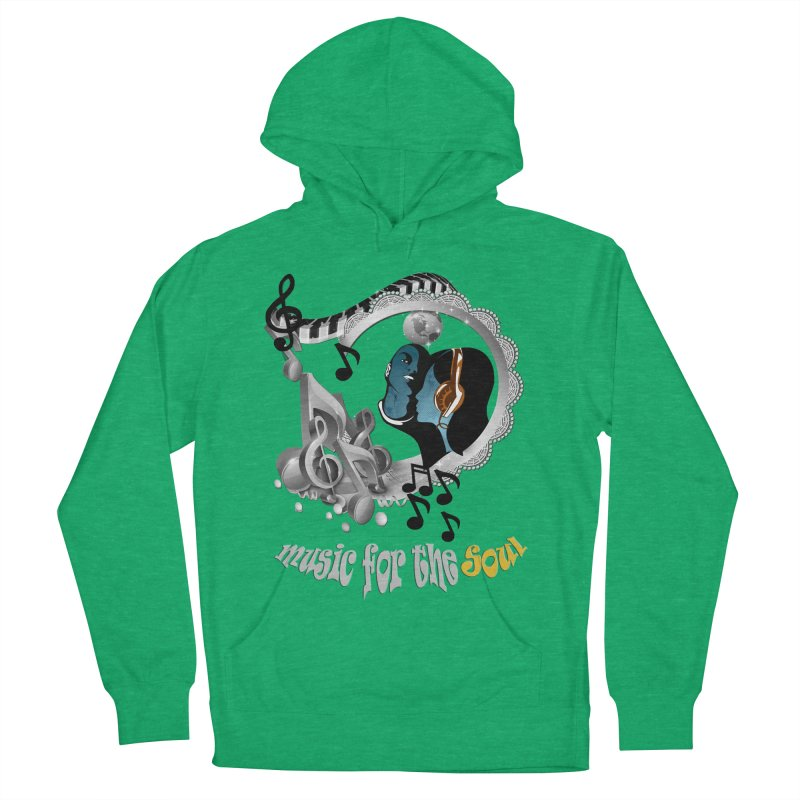 Music for the Soul in grey Men's French Terry Pullover Hoody by NadineMay Artist Shop